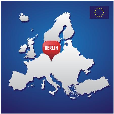 european map: Berlin on european map and EU flag