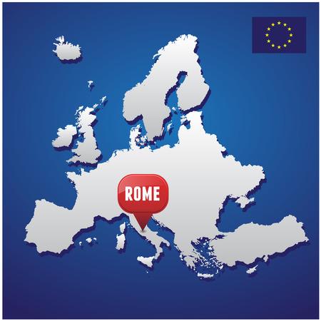 european map: Rome on european map and EU flag