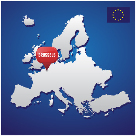 european map: Brussels on european map and EU flag Illustration