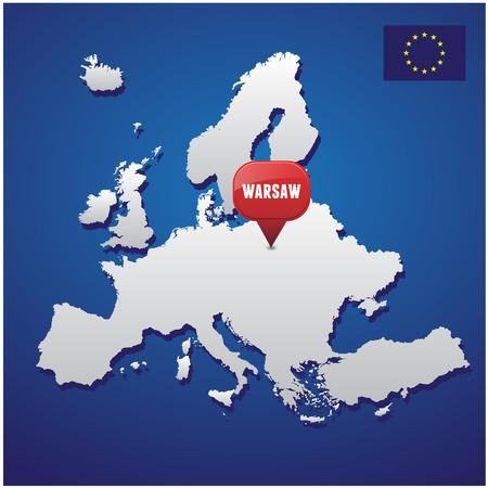 warsaw: Warsaw on european map and EU flag