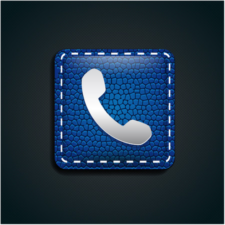 phone receiver: Call Us icon. Phone receiver and phone button on leather background Illustration
