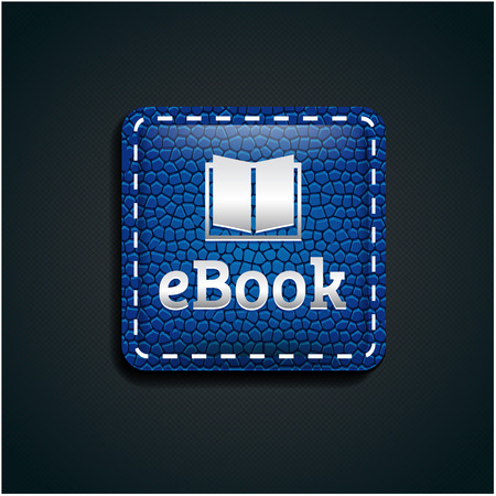 elettronic: Ebook icon button on blue leather