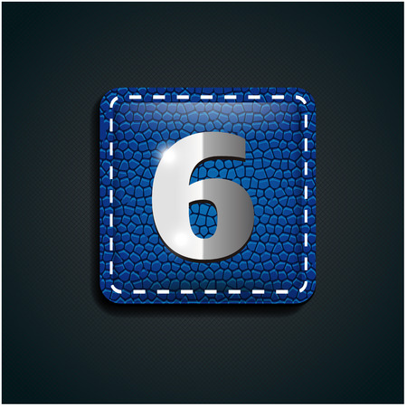 number six: Number six steel on leather button Illustration
