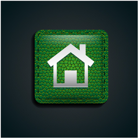 home button: Home button icon on green leather