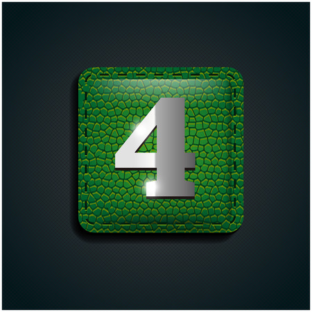 number four: Number four on green leather