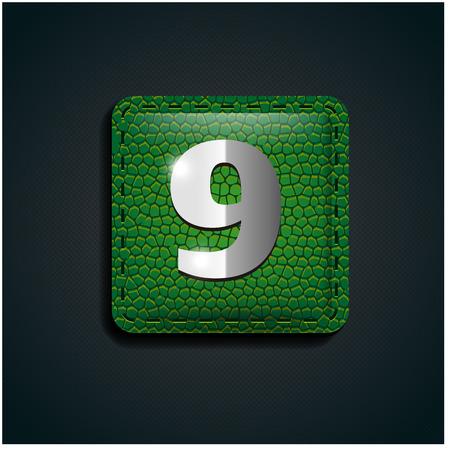numero nueve: Número nueve en cuero verde Vectores