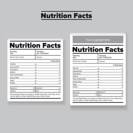 grams: Nutrition facts label or sticker