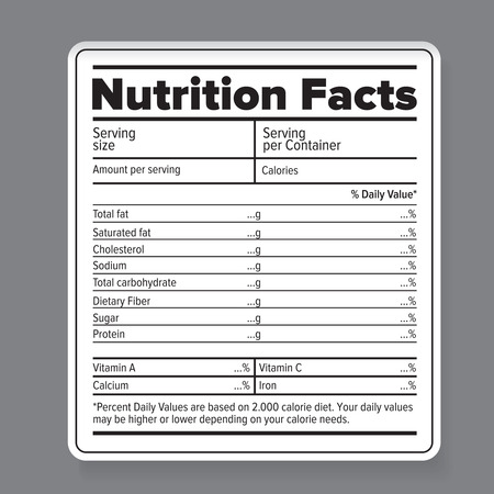 Nutrition facts Foto de archivo - 39075187