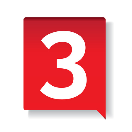 Number three on red background Illustration