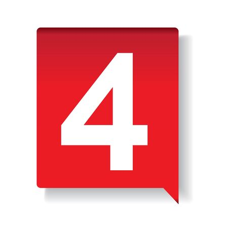 cijfer vier: Nummer vier op rode achtergrond