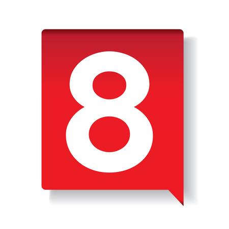 market value: Number eight on red background Illustration