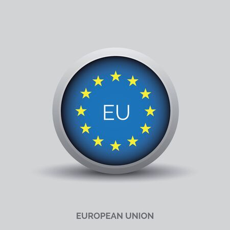 evropský: Evropská tlačítko vektor vlajkou