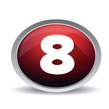 market value: Number eight vector button Illustration