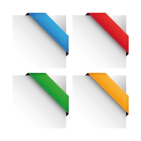 Vector corner ribbon set Illusztráció