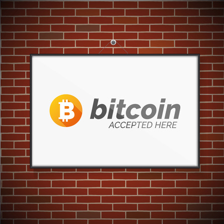 bakstenen muur: Bitcoin symbol on brick wall