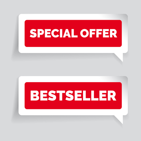 Special offer and bestseller sticker vector