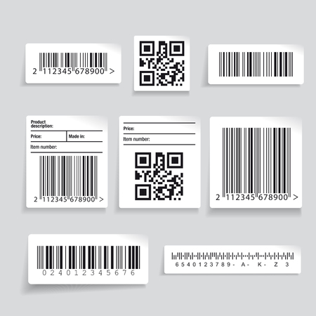 Barcode label set vector Çizim