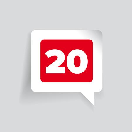 twenty: Number twenty label red