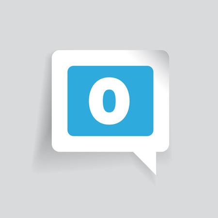 number zero: Number zero label vector blue