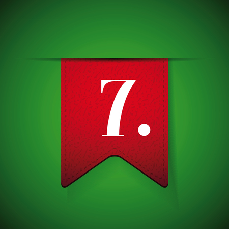 seventh: Number seven on red vector ribbon