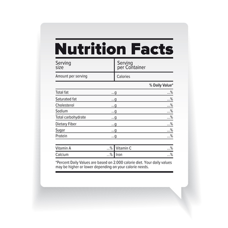 grams: Nutrition facts label vector Illustration