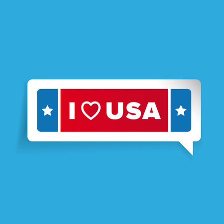 usa: I love USA label vector with stars