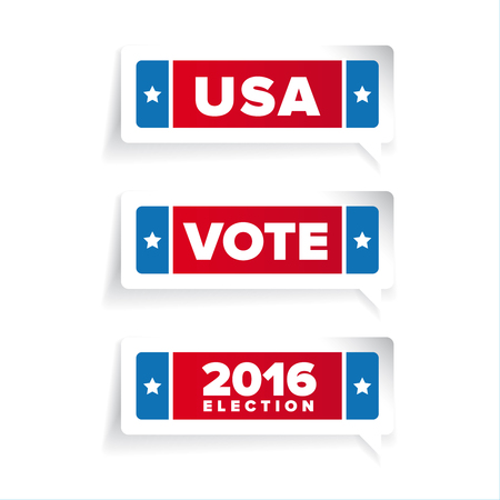 vote: Usa, Vote label vector set Illustration