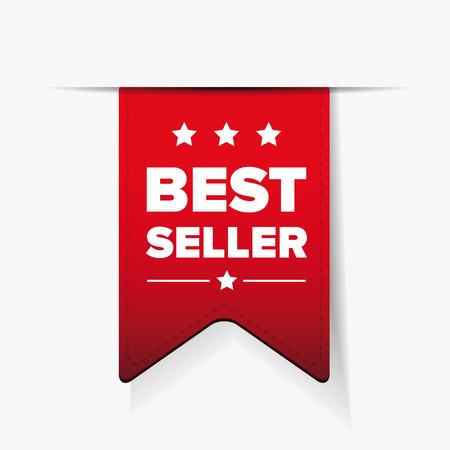 Best Seller red ribbon vector  イラスト・ベクター素材