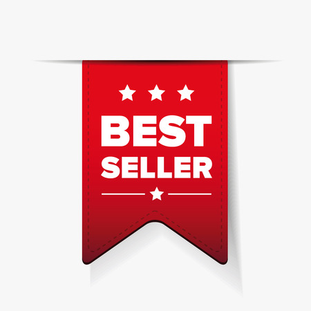 Best Seller red ribbon vector Illustration