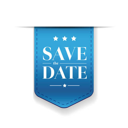 blue backgrounds: Save the date ribbon