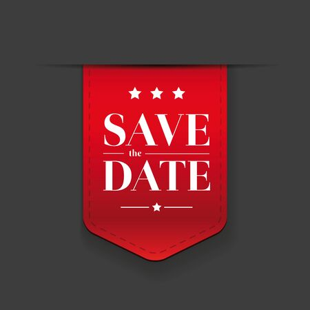 ribbon red: Save the date ribbon red Illustration