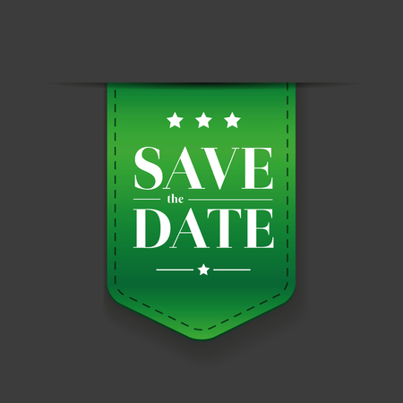 tearaway: Save the date ribbon green