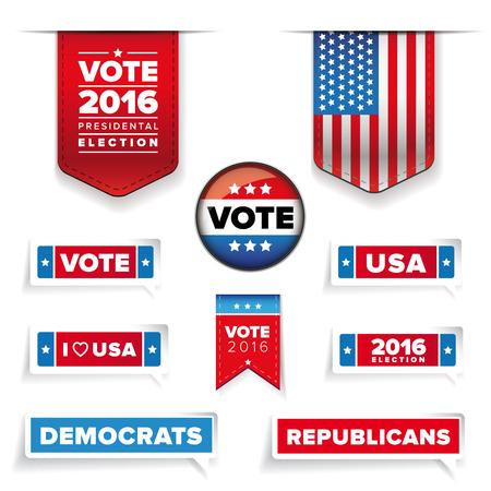 election: Presidental election set vector Illustration