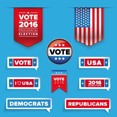 presidental: Presidental election set vector Illustration