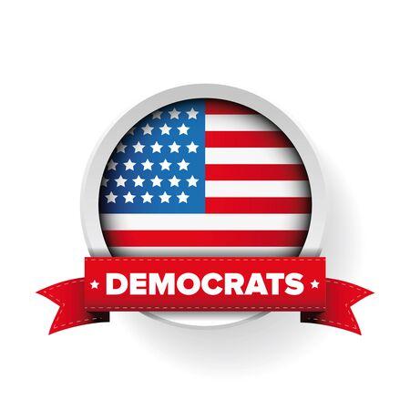 democrats: Democrats ribbon and USA flag vector