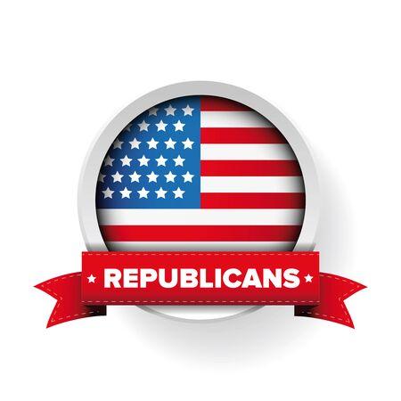 republicans: Republicans ribbon and USA flag vector