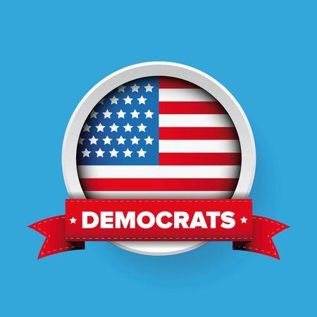 Democrats ribbon and USA flag vector