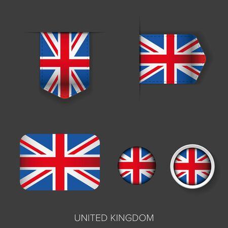 ribbon vector set: UK flag ribbon vector set