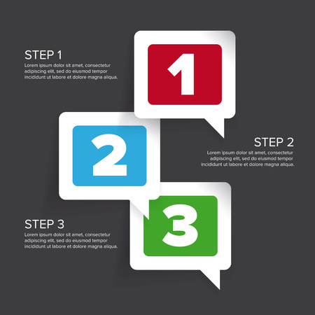 two: One two three - progress steps vector