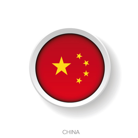 button front: China flag button vector