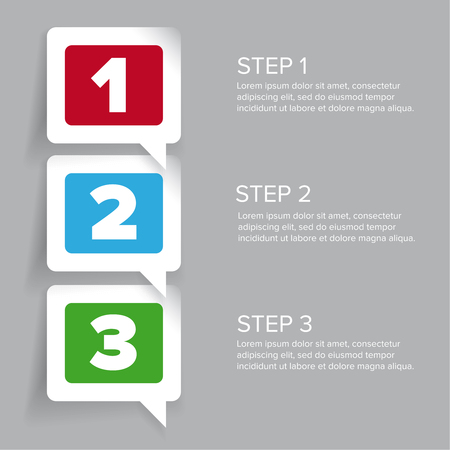 progress steps: One two three - progress steps vector