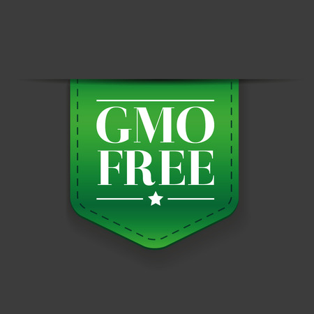 genetically modified crops: GMO free ribbon vector