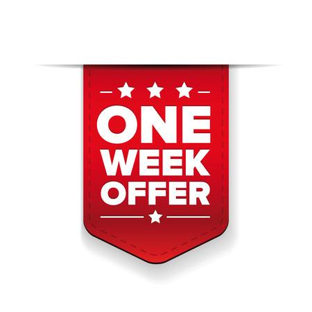 red ribbon week: One Week Offer ribbon vector