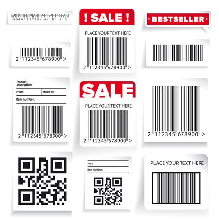 Barcode label and sale vector set Stock Illustratie