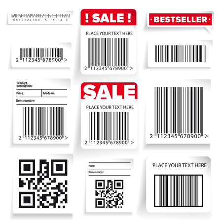 Barcode label and sale vector set Vectores