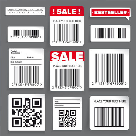 Barcode label and sale vector set Ilustrace