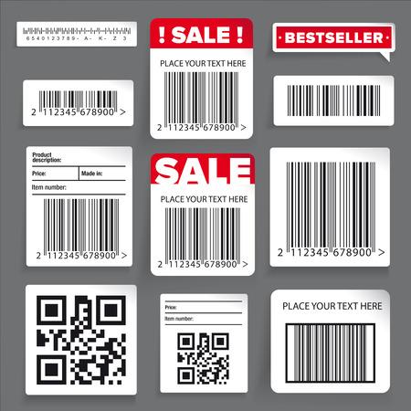 codigo de barras: etiqueta de código de barras y la venta conjunto de vectores Vectores