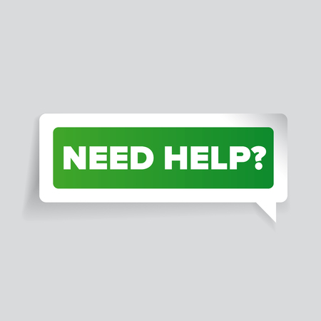 green issue: Need help? Vector label