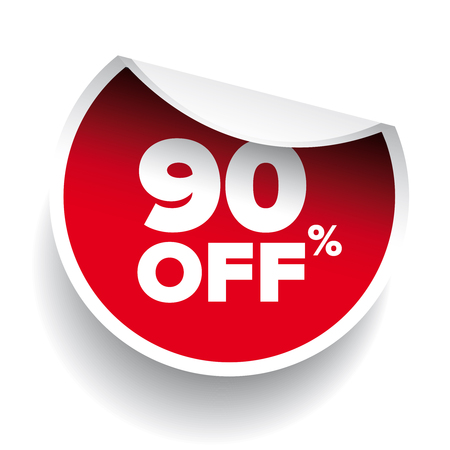 90: red vector 90% discount price sign