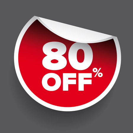 80: red vector 80% discount price sign Illustration